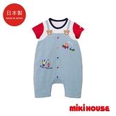 MIKI HOUSE BABY 日本製 假吊帶褲短袖連身服(藍)