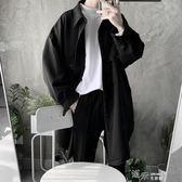 韓風暗黑復古簡約時髦寬鬆風衣外套中長款男 道禾生活館