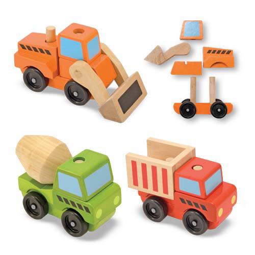 【美國Melissa&Doug瑪莉莎與道格】木製積木工程車 MD3076
