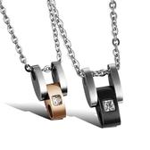 鈦鋼項鍊(一對)-鑲鑽時尚生日情人節禮物男女對鍊2色73cl87[時尚巴黎]