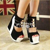 女式時尚涼鞋夏季新款厚底防水台魚嘴鏤空鬆糕涼鞋恨天高 俏腳丫