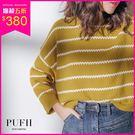 PUFII-針織上衣 可愛鋸齒條紋配色針織上衣 3色-1101 現+預 秋【ZP15450】
