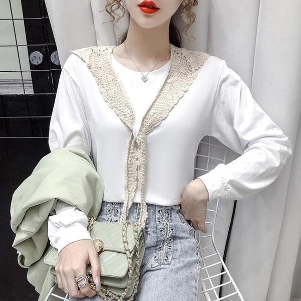 限時特價 襯衫女設計感小眾早秋新款韓版長袖修身蕾絲小披肩拼接上衣潮