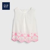 Gap 女幼童 優雅純色鏤空刺繡洋裝 539943-光感亮白
