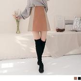 高含棉格紋配色拼接A字裙.褲型內裡--適 XL~5L OrangeBear《CA2108》
