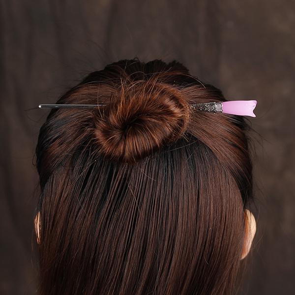 古風髪飾琉璃木蘭花髪釵粉白簪子女漢服配飾玉蘭髪簪宮廷步搖頭飾 髪插