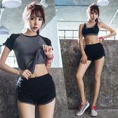 韓版女運動服三件套 短袖內衣防走光短褲T306米莎 misha