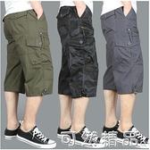 夏季七分褲男寬鬆薄款大碼中褲青年直筒運動迷彩休閒工裝7分短褲 可然精品