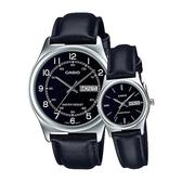 CASIO 卡西歐 手錶 專賣店 LTP-V006L-1B2+MTP-V006L-1B2_對錶 指針錶 皮革錶帶 防水