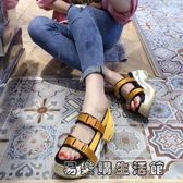 歐洲站貨真皮織帶時尚松糕厚底鞋