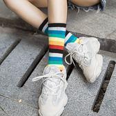 三入一組 時尚百搭彩虹色系條紋中筒襪【ZH035】