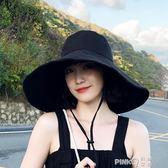 日系純色大檐漁夫帽女春夏可折疊太陽帽防曬遮陽帽韓版百搭帽子潮  【PINKQ】