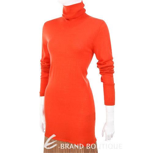 i BLUES 橘色拼接百褶裙高領洋裝 1240313-17