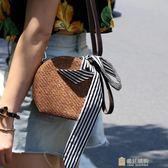 正韓夏女包時尚圓形編織手提包單肩斜挎小圓包潮 快速出貨