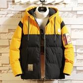 時尚夾克外套加絨 百搭加厚男生外套 男士外套厚款 日系韓版外套羽絨外套 冬季拼色連帽潮流棉服