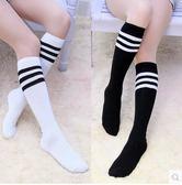 春秋三條杠中筒女襪子高筒襪學院風黑白學生條紋日系足球棒球運動