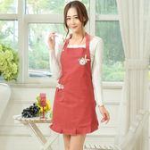 韓版時尚圍裙情侶圍裙全棉無袖廚房背帶 東京衣櫃