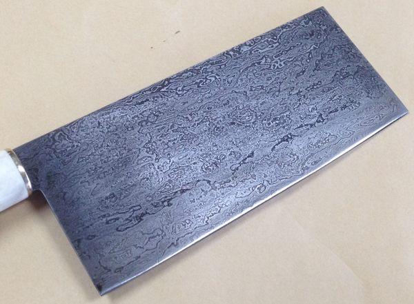 郭常喜與興達刀鋪-積層花紋鋼-手工片刀(50749)黑檀木+花梨木刀柄