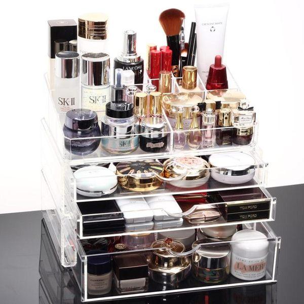 超大號透明抽屜式化妝品收納盒組合化妝盒收納櫃【全館88折起】