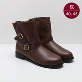 中大尺碼女鞋  方釦側拉軟皮舒適短靴/靴子 40-45碼 172巷鞋舖【BD809-9】