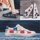 韓版潮流男士帆布鞋學生復古個性低幫鞋夏季小白鞋子艾美時尚衣櫥