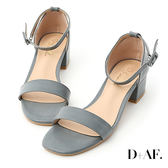 涼鞋 D+AF 完美夏日.一字繫踝方頭低跟涼鞋*藍