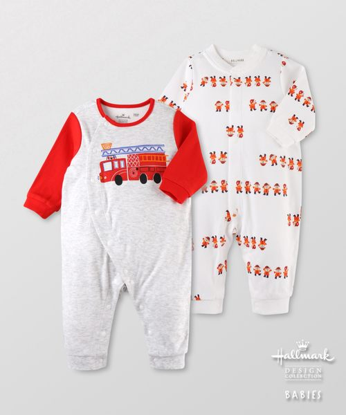 Hallmark Babies男嬰秋冬純棉消防車長袖爬服連身衣(兩件裝) HF3-A01-09-BB-PR