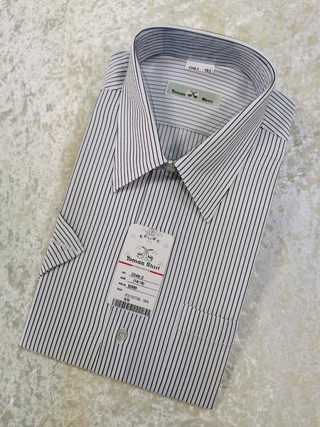 【Yeman Shirt 2346-2】白底黑條長袖/短袖 男襯衫