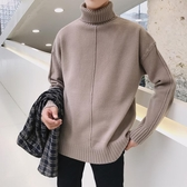 春季男裝高領毛衣男士寬鬆加絨針織衫學生韓版潮線衣青少年外套 藍嵐