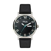 【FILA 斐樂】簡約大時標設計腕錶-個性黑/38-107-001/台灣總代理公司貨享兩年保固