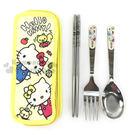 〔小禮堂〕 Hello Kitty 不鏽鋼餐具組《黃.姊妹.小松鼠》 4712977-46354