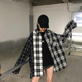 韓版學生bf原宿上衣寬鬆短款學院風格子襯衫外套女冬 伊鞋本鋪