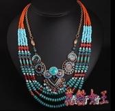 波西米亞民族風多層串珠鎖骨短項鍊毛衣鍊女夸張配飾品 DN20817【花貓女王】