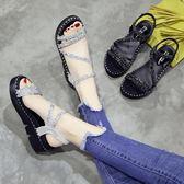 水鉆涼鞋女夏季新款韓版時尚百搭仙女的鞋厚底學生軟妹女鞋子   芊惠衣屋