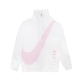 Nike 外套 NSW Swoosh Jacket 白 粉紅 女款 大勾勾 風衣 立領 運動休閒 DA0981-100