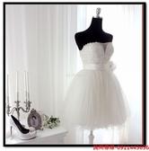 (45 Design) 訂做款式7天到貨新款伴娘裙短款 新娘敬酒服綁帶小禮服伴娘服 抹胸禮服姐妹團