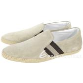 TOD'S 草編細節織帶麂皮休閒便鞋(男鞋/卡其灰) 1820080-28