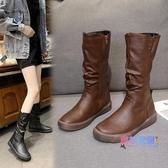 膝上靴 皮靴子女秋冬新品長靴ins瘦瘦馬靴不過膝平底長筒靴加絨【快速出貨】
