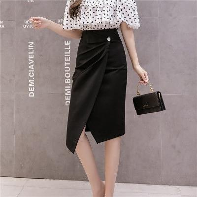 包臀半身裙S-3XL2032黑色半身裙中長款洋氣韓版氣質修身百搭開衩包臀裙子T621快時尚