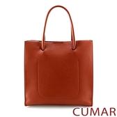 CUMAR 極簡素面多夾層手提斜背包-磚紅色