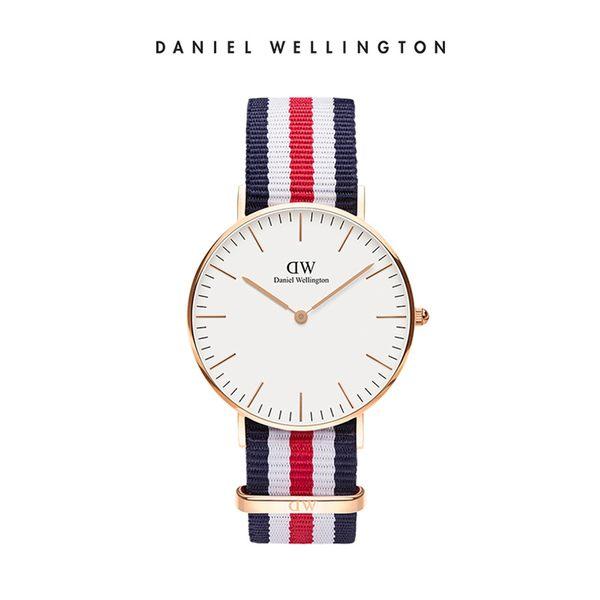 Daniel Wellington DW 手錶 36mm玫瑰金框 Classic 經典藍紅織紋手錶