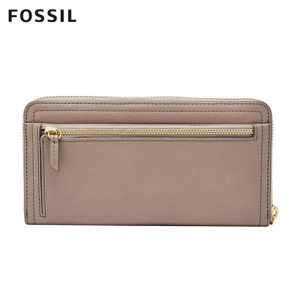 FOSSIL LOGAN 奶油駝色多層真皮拉鍊長夾 SL7831263