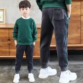 男童褲子加絨加厚長褲運動秋冬裝2019新款中大兒童一體金絲絨童裝
