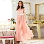 中大尺碼~雪紡蕾絲釘珠連衣裙禮服(XL)