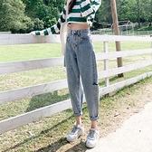 牛仔褲 夏季破洞牛仔褲女薄款寬鬆高腰哈倫褲百搭哈倫褲顯瘦老爹褲子-Ballet朵朵
