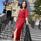 職業洋裝 側開叉裙女夏季女人味高端職業連身裙ol氣質時尚七分袖-Ballet朵朵