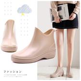 現貨 雨鞋女韓版外穿保暖短筒水鞋雨靴成人套鞋膠鞋【極簡生活】