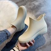 雨鞋日繫時尚雨鞋女短筒雨靴保暖加絨水鞋低筒水靴防滑洗車買菜廚房鞋(快速出貨)