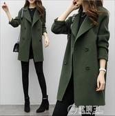 秋冬季新款韓版氣質女裝毛呢外套修身顯瘦大碼中長款呢子大衣 電購3C