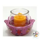 八吉祥紫蓮花瓷座(智慧)&圓杯 (不含酥油粒)   +平安加持佛卡  【十方佛教文物】